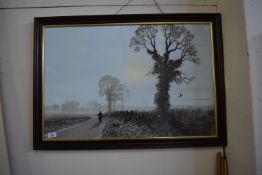 PRINT OF GAMEKEEPER WITH DOG WITH PHEASANT UP SIGNED COULSON
