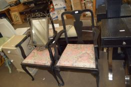 PAIR OF BLACK PAINTED DINING CHAIRS WITH UPHOLSTERED SEATS