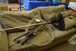 SET OF VARIOUS FISHING RODS AND NETS INCLUDING CARP STALKER