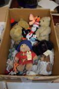 BOX OF SMALL SOFT TOYS, TEDDY BEARS ETC