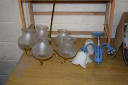 LIGHT FITTING WITH FIVE GLASS SHADES AND FURTHER FITTING WITH THREE WHITE SHADES