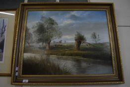 MODERN OIL ON BOARD OF A RIVER SCENE