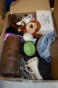 BOX OF POTTERY BLUE AND WHITE DISH, CHEESE BOARD, CERAMICS ETC