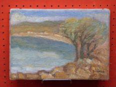 Small unframed Oil on canvas, signed Bourna, titled verso Bord du Rhone/Cote Ardeche, 19 x 27cm