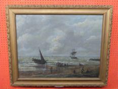 C19th Continnental School, Oil on board, Beach Scene with departing Ships, 51 x 67cm
