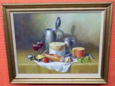 Still Life, oil on panel, signed Wilf Walker, 37 x 50cm