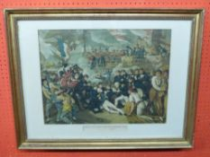 """Coloured C19th Engraving, """"Death of Lord Viscount Nelson, KB, at the Battle of Trafalgar"""", 40 x"""