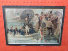 Large framed C19th coloured Print, depicting Admiral Horatio Nelson after Fred Pine, 52 x 79cm