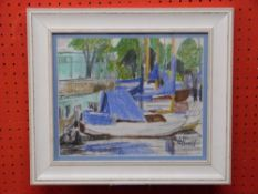 Afilier Lucie Revell, 1910-1991, Crayon, Rover Scene with Boats, 23 x 28cm