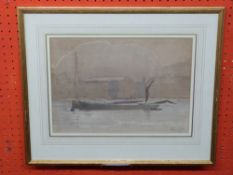Maurice Foxell, sig LR, Watercolour, Barges, 24 x 34cm