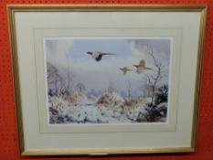 Coloured Print after J C Harrison, Winter Pheasants, 33 x 45cm