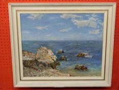 C20th British School, Oil on board, rocky Sea Shore, bearing signature John Hamilton LL, 38 x 49cm