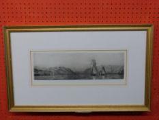 "Harold Wyllie (1880-1975) Etching /Aquatint, ""Shpping in an Estuary"" pub 1926, 16 x 43cm"