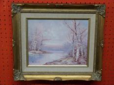 J Reeves, signed LL, Oil on canvas, Winter River Scene, 20 x 24cm