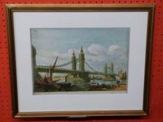 Early print of Chelsea Bridge, London