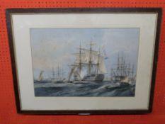 C19th coloured print of battleship St. Jean d'Acre, 101 guns