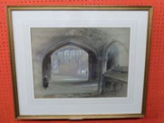 George Bryant Campion NWS, Watercolour, Cathedral Interior, 36 x 48cm
