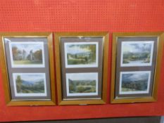 Set of six coloured Engravings (mounted in three glazed frames) of various Abbey/Priory Ruins,