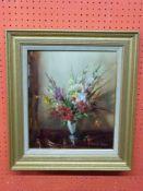 Vernon Ward, Oil on board, Still Life, Vase of Flowers, 35 x 29cm