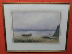 William Freeman, 1853-1934, Watercolour, Beach Scene with passing Ships and figures, 36 x 53cm