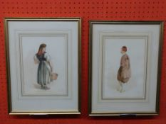 Pair of framed Watercolour Costume Studies, init HR in pencil, label verso for William Bevan and