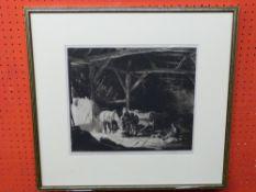 """George Soper, RE (1870-1972) """"A Sussex Barn"""", Aquatint, signed pencil, 30 x 34cm"""
