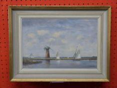 V Hammond, RGL, FRSA, Oil on Board, Sailign Boats passing a Windmill, 20 x 30cm