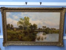 Henry H Parker, Oil on Canvas, sig LL, River Landscape at Harvest Time, 59 x 105cm