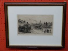 """Charles J Watson, engraving, """"King St Gates June 1882"""", view of King St with Norwich Castle, 15 x"""