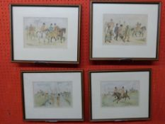 """Set four coloured plates from """"A Hurdle Race"""", 17 x 23cm"""