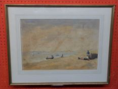 "Thomas Smythe, 1825 - 1907, Watercolour, ""Old Felixstowe"", 30 x 45cm"