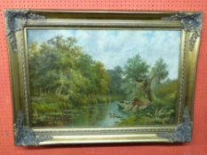 Sidney Yates Johnson, Oil, signed and dated 1893, Eel Catchers boat
