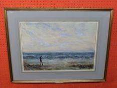 William Freeman, 1853-1934, Watercolour, wintry Beach Scene, 36 x 53cm