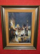 Indist sig Oil on Canvas, Continental Street Scene, 46 x 32cm