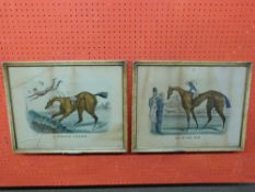 """Pr Currier & Ives American Horseracing Prints, """"Go in and Win"""", and """"A Steeplechaser"""", 34 x 43cm"""