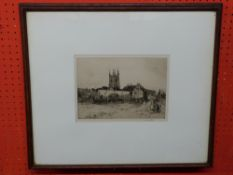 "Sir Frank Short, sig pencil to margin, b/w Etching, ""Strolling Players at Lydd"" (description to"