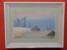 D Graham, signed LR, Watercolour, Beach Scene, 27 x 40cm