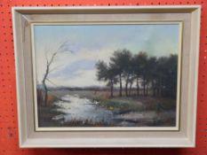 A Debeuf, signed LR, Oil on canvas, River Landscape, 28 x 38cm