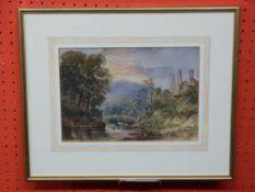 C19th British Watercolour, Fishing by Castle Ruins, 17 x 26cm