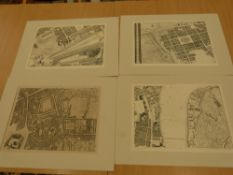 Four mounted reproduction London Map Prints, from Roques Map of London 1746