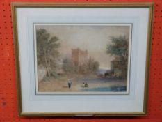 J Baynes 91766 - 1837), Bywell Castle on the Tyne, 22 x 30cm