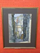 E John Collyer, Watercolour, Mountainous Village Street Scene, 37 x 27cm