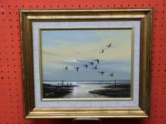 Keith Hastings, signed, Geese over Breydon Marshes