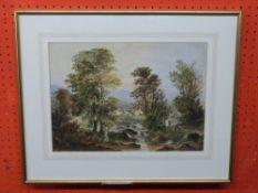 Unsigned Watercolour, Landscape with Fishermen, 27c,m x 37cm