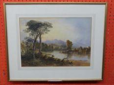C19th British School, unsigned Watercolour, Lowland River Scene, 26 x 37cm