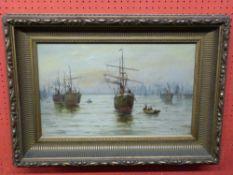E Fletcher, Oil on canvas, Boats at Anchor, 30 x 49cm