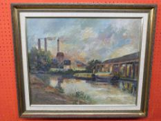 F I Naylor, signed LR, Oil on board, Canal Scene with factories, 45 x 56cm