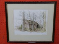 """Keith Maughan, Wateroclour, """"Thatched Barn, Burlingham"""", 24 x 31cm"""