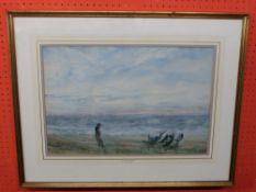 William Freeman, 1853-1934, Watercolour, Beach Scene, 36 x 53cm