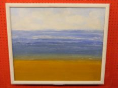 Indist Signed Oil on Board, abstract Beach Scene, 49 x 69cm